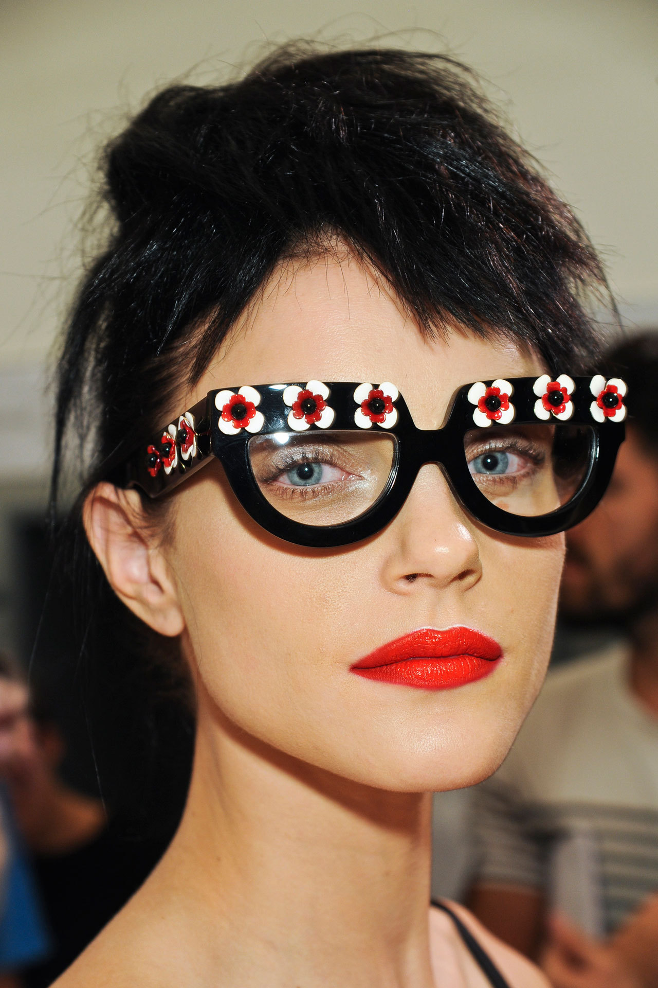 Jessica Stam backstage at the Prada Spring/Summer 2013 show during MFW, September 20th