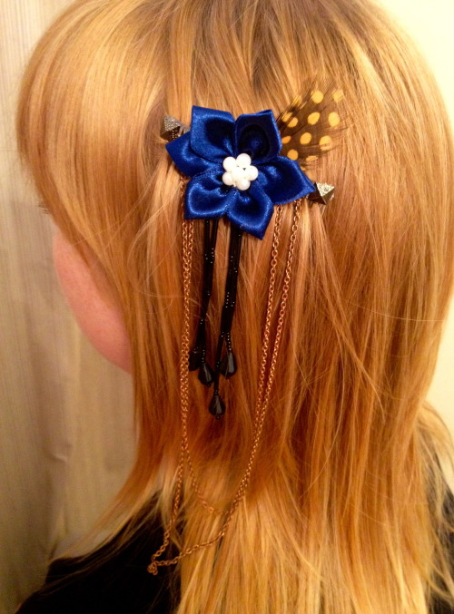 Hair accessory I made and  cut, and color I did