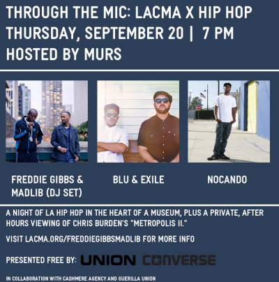 Blu & Exile Tonight at LACMA Blu & Exile join Murs' Through The Mic series tonight along with LA hip hop artist Nocando and headliners Freddie Gibbs & Madlib for a sold out show at LACMA.   -KANGO