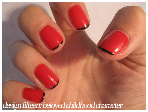 Design Fifteen: Beloved Childhood Character This manicure is based off of Clifford the Big Red Dog…not the cartoon character but the book character. Well, cartoon book character. I loved Clifford when I was a little kid! So, he gets honored in this design. The skinny french tip is reminiscent of Clifford's black collar! Colors used: ULTA Let the Flames BeginEssence Black is Back