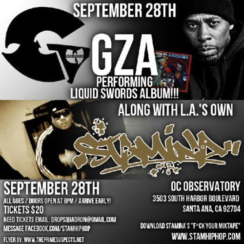 Design for @stamhiphop along with #GZA #Genius of the #WuTangClan performing #LiquidSwords - #OC #LA #WestCoast #southerncali #HipHop #music #KillaBeez #ThePrimeSuspects #TPSvision #Flyers #BusinessCards #visualartist #Creative #Artwork  (Taken with Instagram)