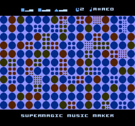 New NES music software released today: Super Magic Music Maker by Neil Baldwin. This is a generative tool that runs on the actual NES, and you can interact with both visuals and music. Or just lean back and obey the machine! Download here.