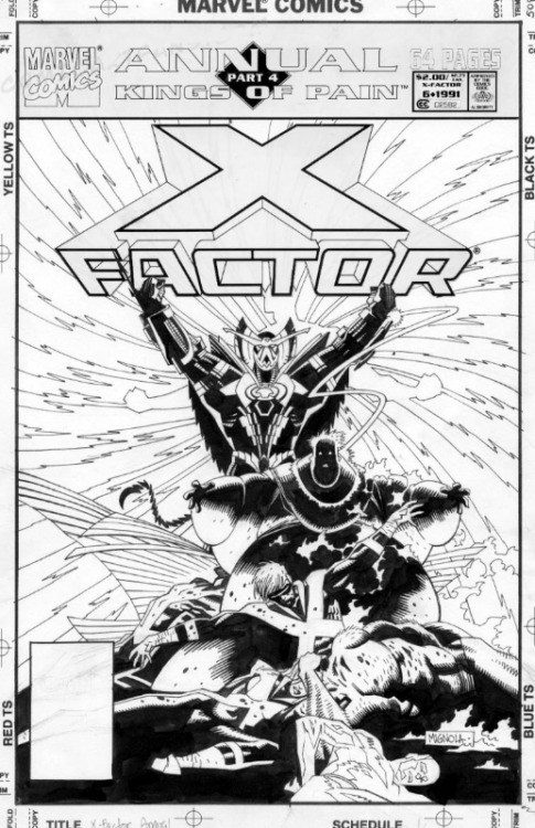 brianmichaelbendis:   X factor by Mike Mignola original art this is wat my basketball coach calls me aaa