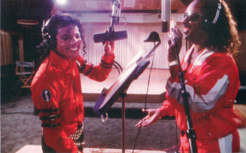 "Michael and Stevie recording ""Just Good Friends"" in the studio."