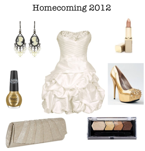 Homecoming 2012 NICOLE NAIL POLISH (GOLD TEXTURE COAT) By OPI Beaded Taffeta Party Mini Bubble Dress  J. Furmani Evening Clutch 1928 Jewelry Kimberly's Cameos Chandelier Earrings Maybelline EyeStudio Eyeshadow in Give Me Gold L'Oreal Paris Colour Riche Lipcolour in Golden Splendor Qupid Spike Cap Toe Platform High Heel