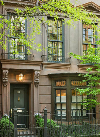 thefoodogatemyhomework:  Real brownstone (note the brown stone) townhouse on the Upper East Side. Adore the green detailing like the window mutins and casings, iron gate and Juliet balconies, and lovely glossy front door with gold hardware. Simple, elegant, beautiful.