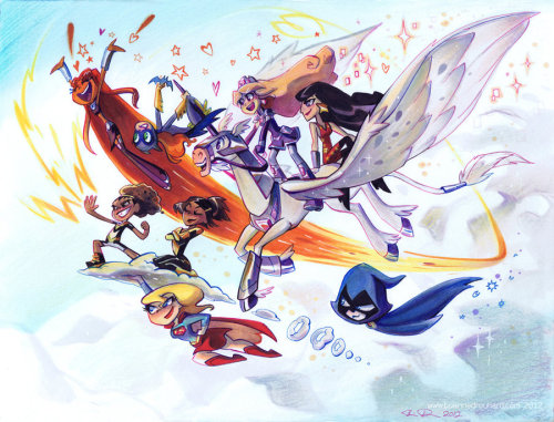 batgirlrising:  Super Ladies by *potatofarmgirl I just love Brianne Drouhard so freakin' much!!! These are the ladies of this fall's DC Nation shorts: her own Amethyst, the SBBFS, Raven and Starfire from Teen Titans, and the new Thunder and Lightning!!! I want this to be a half hour show. For serious.