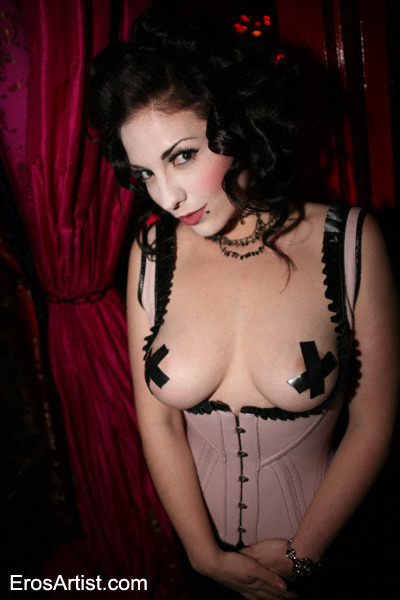 Shot in '08 at a fetish party in LA. Sometimes I miss my jet black hair. I was feeling geisha that night. Ps. If you go to a party with your tits out, expect them to be brutalized.