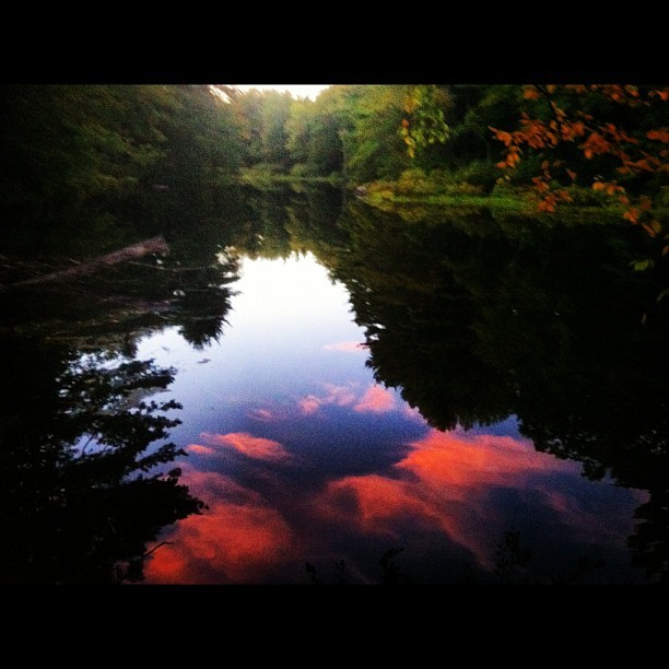 Home to catch fire in the sky in the water. (Taken with Instagram)