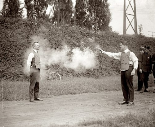 greasegunburgers:  Bullet proof vest testing, Washington 1923.