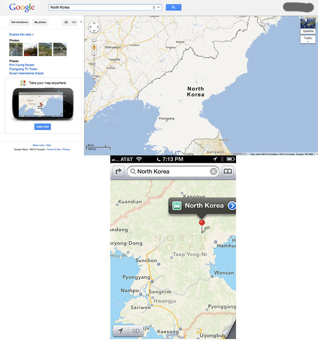 Good news for North Korean iPhone owners: iOS6 maps are actually better than Google maps!
