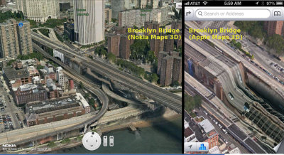 theamazingios6maps:  Comparing iOS 6 map image of Brooklyn Bridge (taken from this website) to , er, Nokia 3D maps image of same.  Even Nokia is winning this one, Apple.