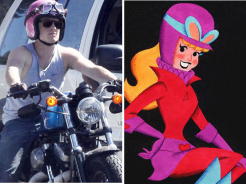 Josh Hutcherson rocks a bright pink crash helmet