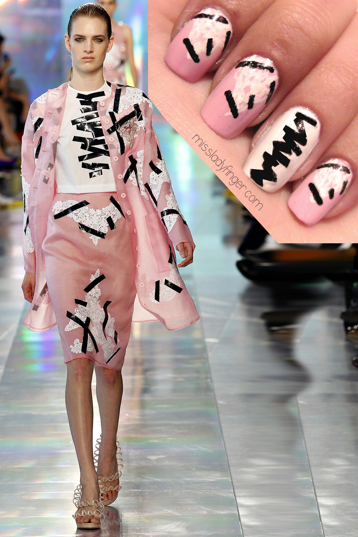 missladyfinger:  MANICURE MUSE: Christopher Kane Spring '13 Monster goth goes femme for Christopher Kane's quirky Spring '13 collection. Frankenstein gets the runway treatment quite literally as the source of inspiration. Offbeat details like rubbery bows and black electrical tape (pictured here) make ladylike looks an edge, but it's the Frankenstein screen tees that give the collection an electric jolt. I'm going to need one of those ASAP. Click here for nail colors and step-by-step instructions!