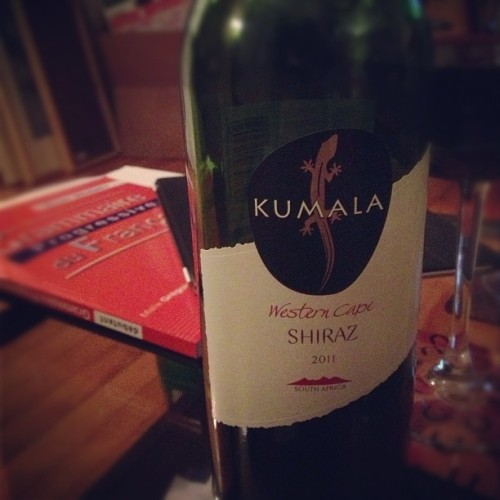 Kumala Shiraz 2011 (South Africa) w/ @starlexis #win #south #africa #southafrica #kumala #shiraz #syrah #wine #vin #vino #alcohol #red #french #français #grammar #homework #drunk #awesome #boss (Taken with Instagram)