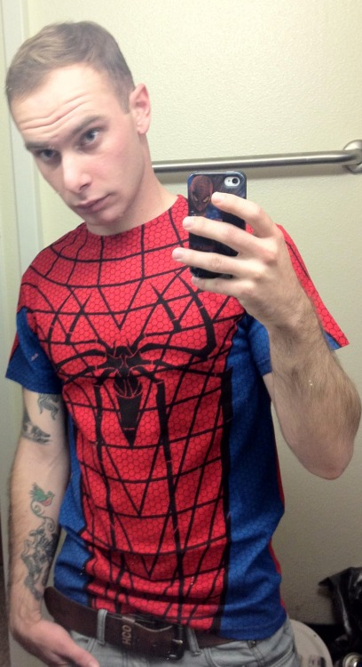 rugbyfucker:  Awesome new Spidey shirt came in the mail today!!
