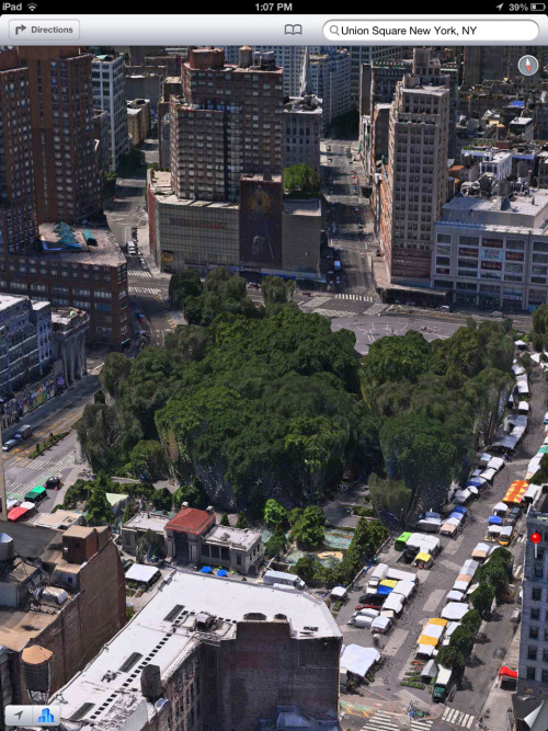 "I'm a big fan of apple's new flyover 3D maps thing, and their ""make everything look like a playstation 2 game"" initiative."