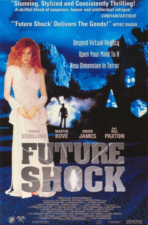 "amylomein:  I am now watching Future Shock, written by and starring Vivian Schilling, the ambitious young woman who brought us Soultaker. This movie is an anthology of short, crappy thrillers that are loosely tied together by Martin ""Sweep the leg"" Kove from The Karate Kid. Toward the beginning, Vivian is in the car and the radio announces that Mayor McMillan's daughter Natalie was in a tragic car accident. I couldn't stop laughing! A Soultaker fanwink? Were there any non-MSTies who watched Soultaker? Anyway, there is no sign of an Estevez  so far but Father Dude does make an appearance as a male stripper! That took my soul, right there.  …I want to find this now"