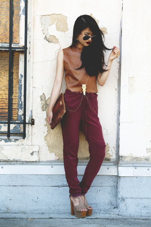 lookbookdotnu:  Wine Lips, Wine Pants (by Natalie Liao)