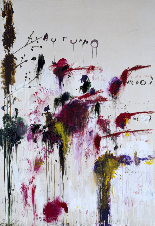 Cy Twombly - Autumn (1993-5) - acrylic, oil, crayon and graphite on canvas