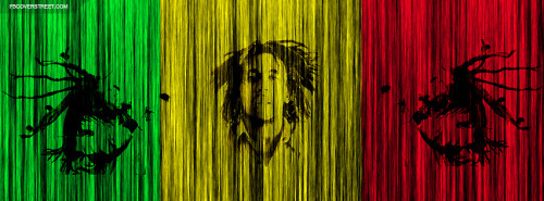 Bob Marley Rasta Stripes Design Facebook Cover