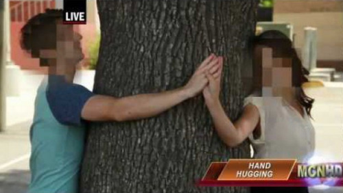 VIDEO: Breaking News Report on Hand Hugging Be informed, don't let sleezy sleezers hand hug you.