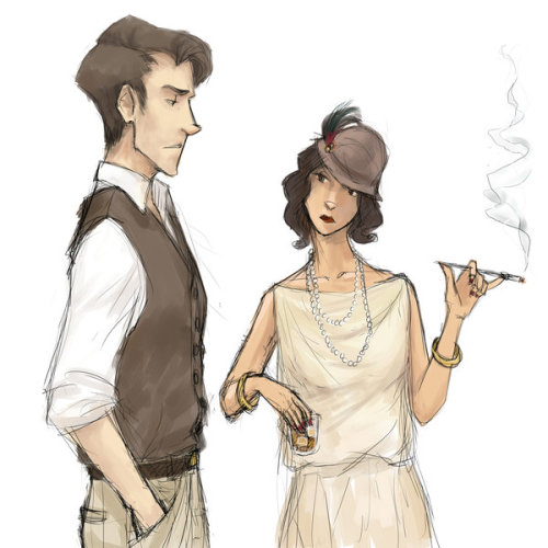 Nick Carraway and Jordan Baker by ~cellulind