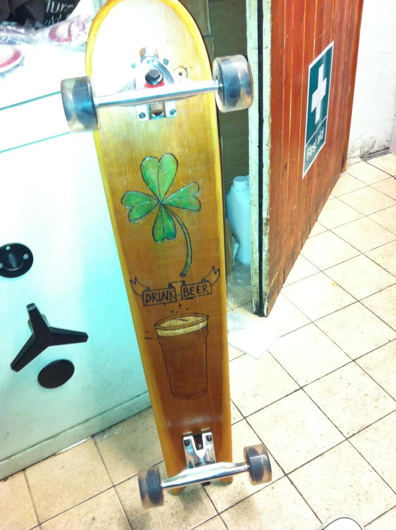 "Great day today, finally took delivery of my new custom made board from Alan Robertson, it really is amazing how he makes his boards, do yourself a favour and check out his blog in which he writes abut his boards, goings on and life, very interesting reading: http://barnsterlife.blogspot.co.uk/  On another note, we (The Thatch Croyde) hosted the St.Austell Brewery Board meeting and dinner evening (first time outside of the brewery) and had a great night, a menu tailored to their beers, using as ingredients and marrying the flavours to the dish. I also got a chance to try out my newly created Beer Flavoured Vodka as a palate cleanser…..went down a storm, getting the stern nod of approval from the head brewer (one of this guys beers won best beer in the world a few years back) and a request for another round with looks of astonishment and the repeat question of ""how the hell did you manage to make that?"". All in all, i've had a pretty sweet day!"