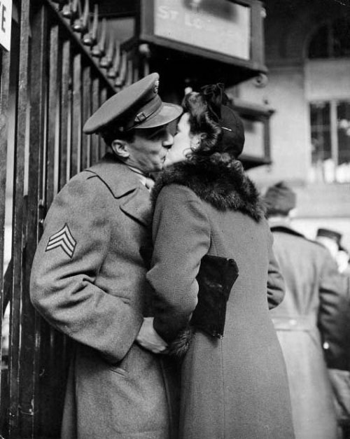 allaboutthepast:  Soldier kissing his girlfriend goodbye in Pennsylvania Station. Photo by Alfred Eisenstaedt (1944).