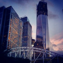 Good Evening TriBeCa., #TribecaBridge #OneWorldTradeCenter #WestsideHighway #TriBeCa #LowerManhattan #NewYorkCity  (Taken with Instagram at TriBeCa Bridge)