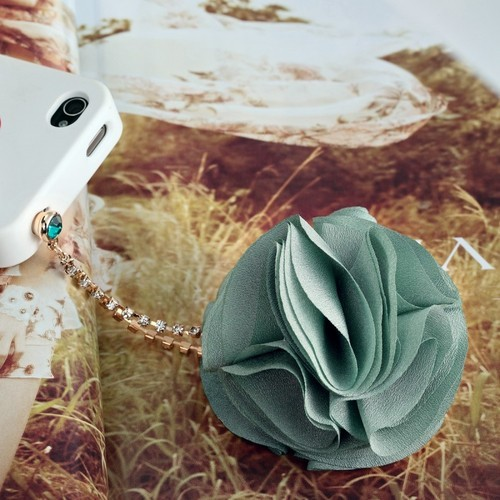 Chiffon Flower Iphone Dust Charm :  swarovski flowers accessory earphone