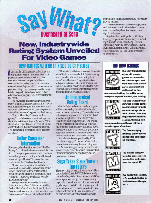 (Sega Visions #21, October-November 1994) The debut of the ESRB rating system!