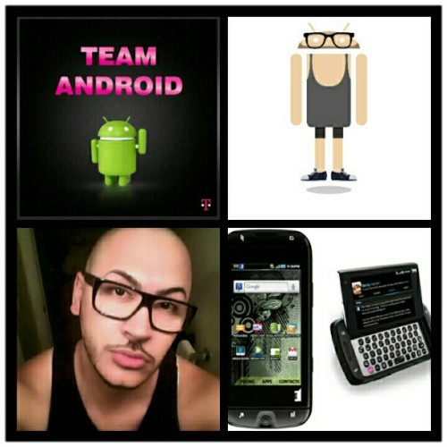 "I'm a proud member of ""Team Android"" and ""Team @tmobile""! The top-right photo is of me as an android and on the bottom-right, my current android device, my spaztic, T-Mobile Sidekick 4G, that I LOVE, by Samsung. #TMobile #TMobileSidekick4G #Sidekick #Sidekick4G #Samsung #Android #Androidify #BlackFrames #Black #Love #DivaLife #ForbiddenPlastic  (Taken with Instagram)"
