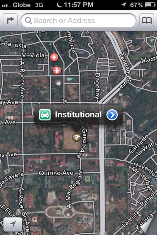 "Apple Maps renames the University of the Philippines Diliman as ""Institutional."" Perfect."