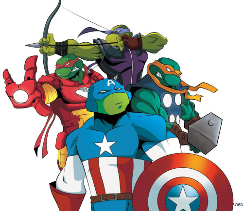 Turtles: The Avengers created by A7MD93. Leonardo as Captain America, Raphael as Iron Man, Michaelangelo as Thor, and Donatello as Hawkeye. Fitting, no? Though Black Widow might be a little more useful than April was…
