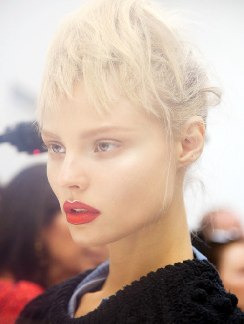 Magdalena Frackowiak backstage at Prada Spring/Summer 2013