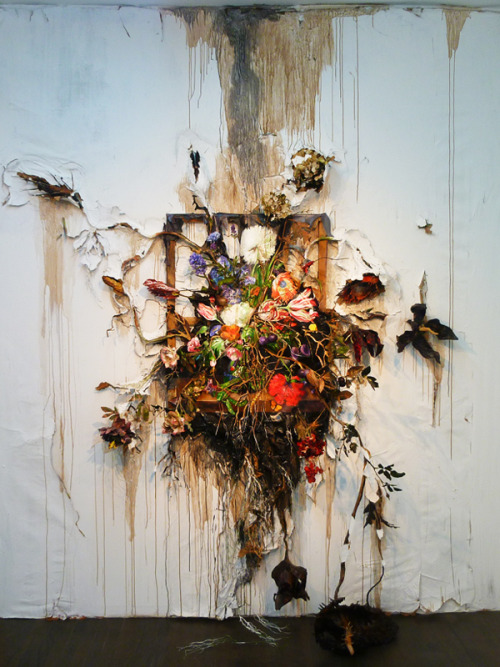 "bhsutton:  Another stunner from Valerie Hegarty's new show at Nicelle Beauchene Gallery, Figure, Flowers, Fruit (through October 21), ""Flower Frenzy"" (2012)."