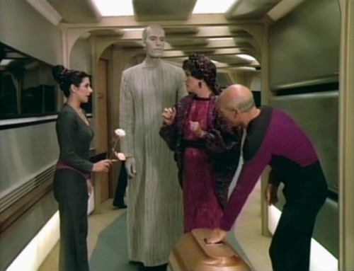 kre:  Oh boy remember Lwaxana Troi? That lady was such a trip. Also Mr. Hohm, love that guy. What a champion valet he was.  Only just now realized that dude was the giant in Twin Peaks. mind = blown.