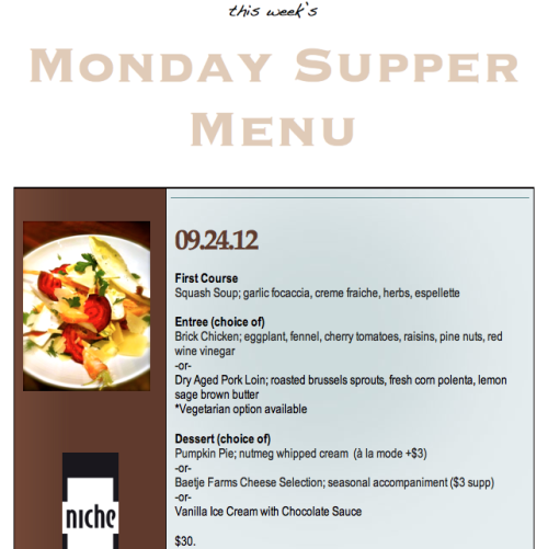 This Week's Monday Supper Menu 09-24-2012