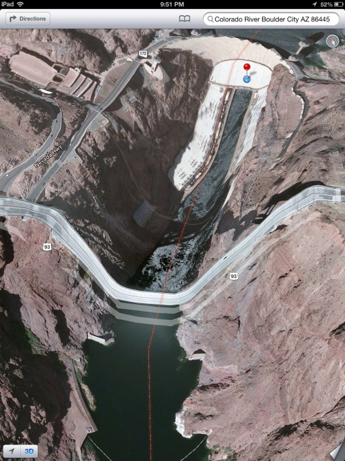 theamazingios6maps:  The Colorado River Bridge at Hoover Dam takes a terrifying 900 foot drop into Black Canyon.