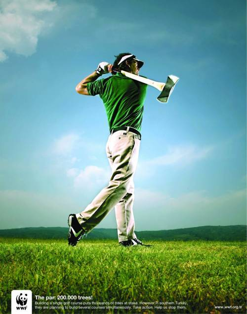 "innovativeads:  WWF: Golf Course ""A golf course with 200,000 trees. Help us stop it."" by Unknown via AdPunch"