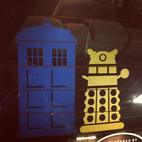 The window decals on @ladysteam13's car reveal her Time Lord pride! #DoctorWho  (Taken with Instagram)