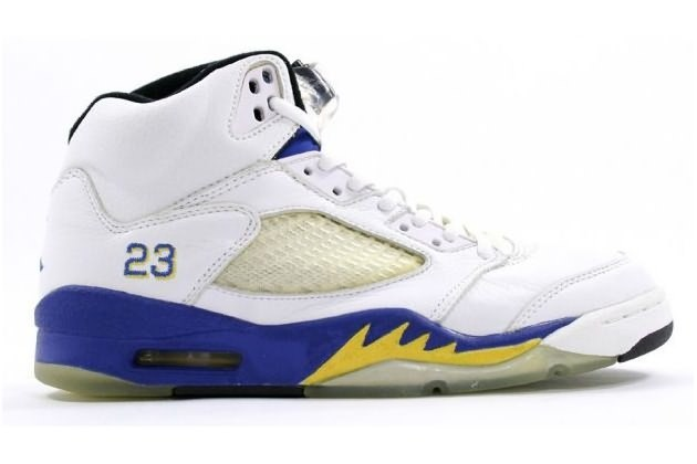 Air Jordan 5 (V) Retro High Men- White-Varsity Maize Varsity Royal
