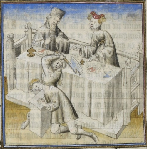 early 15th century (1405-1410), French - Paris Latin 7789: De Senectute; Pro Marcello, both by Marcus Tullius Cicero fol. 65v - Lucius Flaminius with his mistress watching an impending execution http://gallica.bnf.fr/ark:/12148/btv1b84516084/f49.planchecontact.r=francais+7789.langEN About the incident, from wikipedia:  Cato reported that during his consulship, Flamininus took his mistress with him to the north of Italy. Whilst there, a noble Boii and his family sought sanctuary in Flamininus' tent. As the mistress had often told Flamininus that she had never seen a man die, the consul turned to her and asked her whether she wanted to see a Gaul die. The Boii noble was still speaking through an interpreter when Flamininus ordered his lictor to behead the Boii noble. - wikipedia