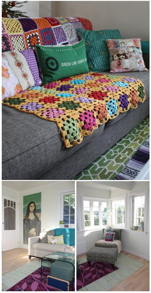This crochet in the home pic comes from the JuBella Flickr Group: How Creative People Live — member tovemichelle12 captures the colour, simplicity, and uniqueness of her home … don't you just love it?
