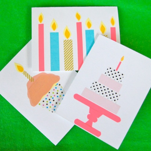 Washi Tape Birthday Cards via Omiyage Blogs