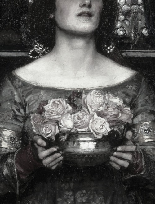 J.W. Waterhouse, Gather Ye Rosebuds While Ye May (detail), 1908 version