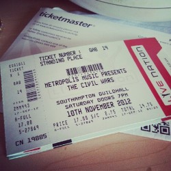 The tickets are here!!!! :D Totally seeing The Civil Wars!!! (Taken with Instagram)