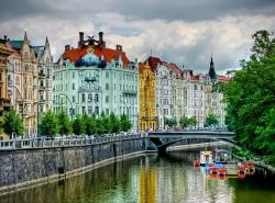 Goethe Institute and the Zofin Bridge, Josefov, Prague, Czech Republic