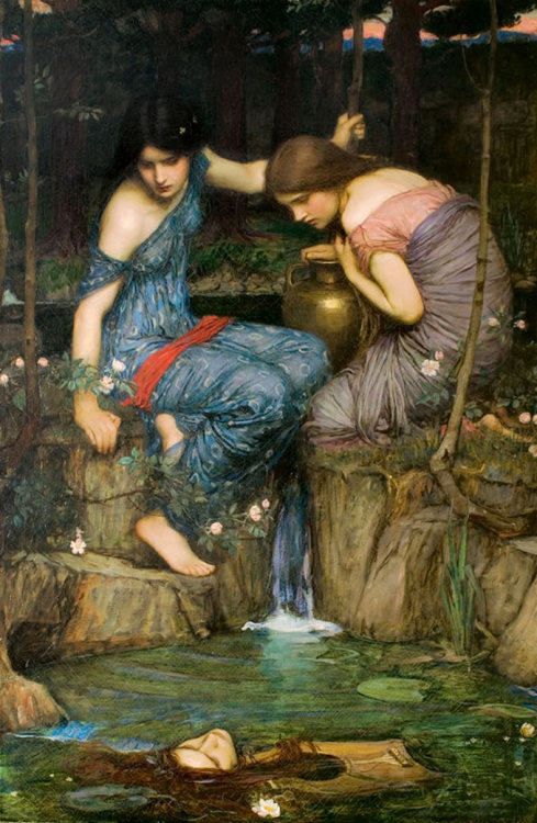 mybrotherwasthomascole:  John William Waterhouse ~ Nymphs Finding the Head of Orpheus 1900